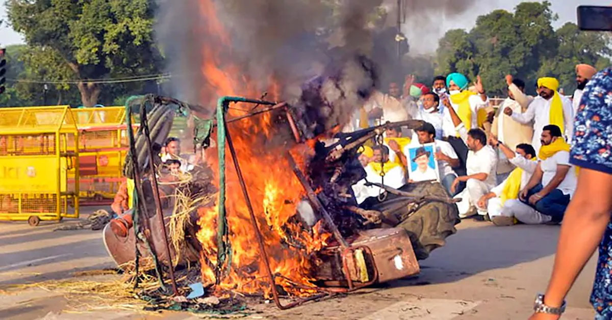Tractor Set On Fire At India Gate To Protest Farm Bills